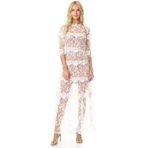 For love&lemons floral lace maxi dress in white